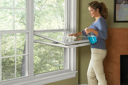 double-hung window cleaning