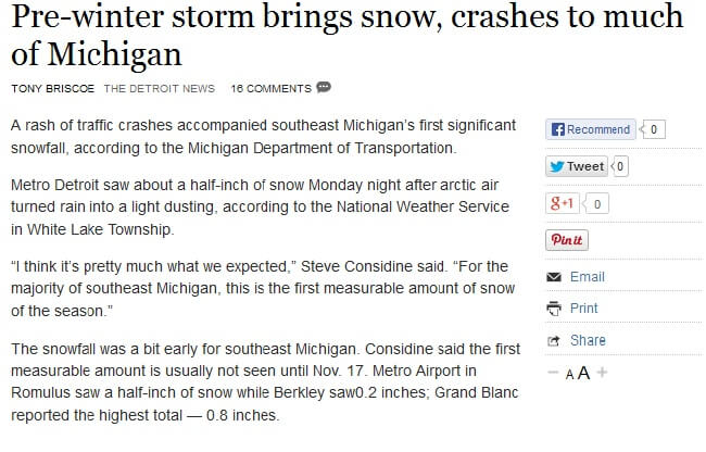 A Rash Of Traffic Crashes Accompanied Southeast Michiganu0027s First  Significant Snowfall, According To The Michigan Department Of  Transportation. Metro Detroit ...