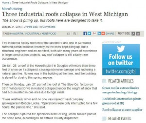 three industrial roofs collapse in West Michigan Image
